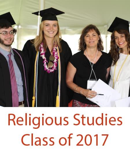Prof. Kim Haines-Eitzen stands with 2017 Religious Studies graduates
