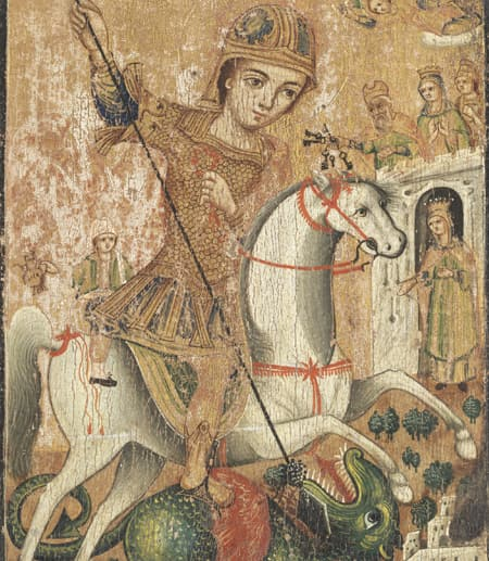 Icon of St. George and the Dragon, ca. 1700-1900, Tempera on panel, Gift of Professor and Mrs. Meyer H. Abrams, 97.005.004, Herbert F. Johnson Museum of Art, Cornell University